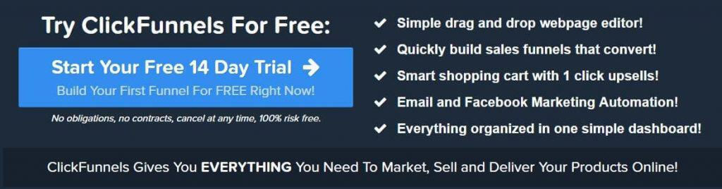 Clickfunnels commercial banner with benefits