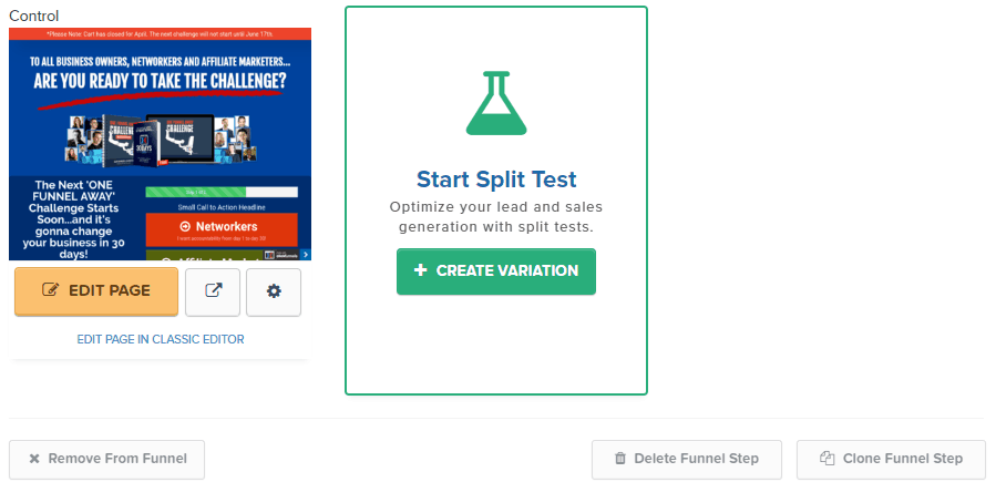split test menu inside of clickfunnels