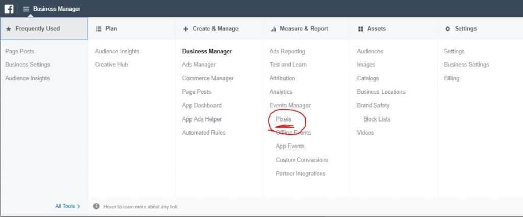 facebook manager menu