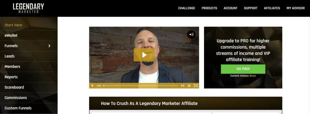 legendary marketer affiliate program backend look inside