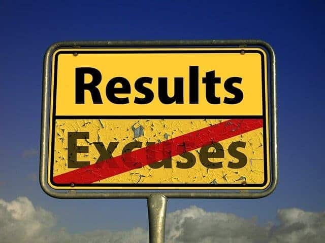results sign no excuses