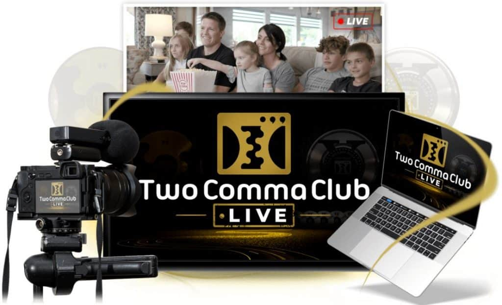 two comma club live streaming setup camera and laptop