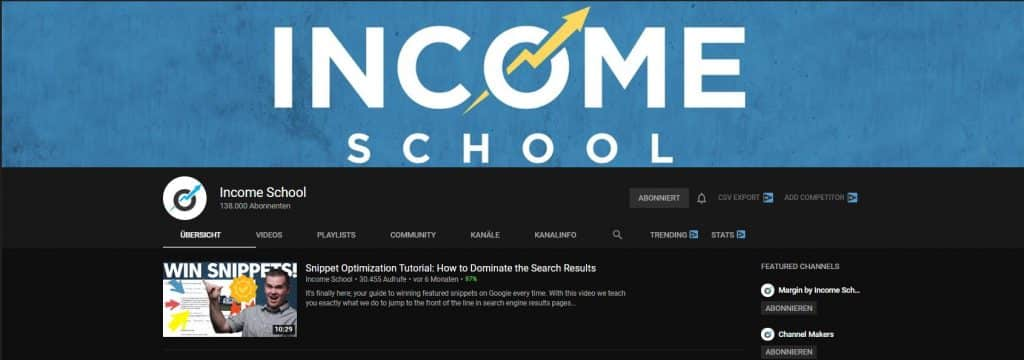 Income Schools Youtube Channel Overview