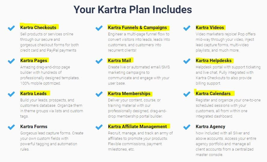 Kartra features overview